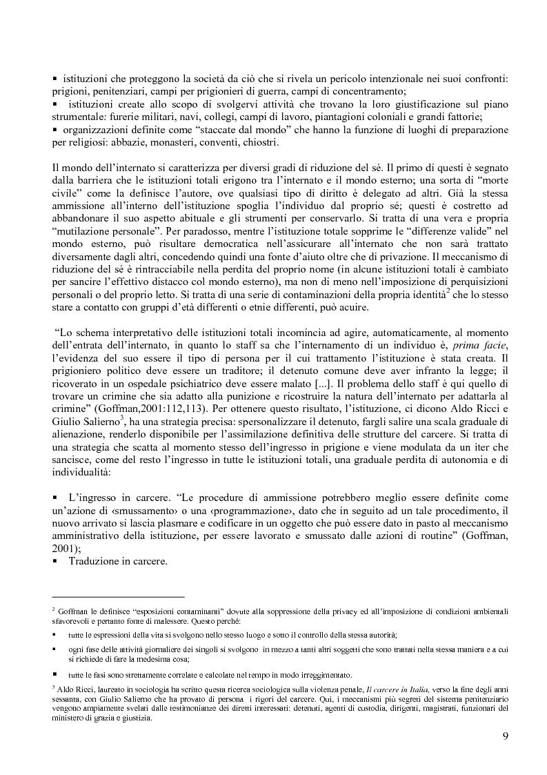 Anteprima della tesi: Istituzione penitenziaria e organizzazione: il ruolo delle risorse umane nelle interazioni con i detenuti, Pagina 5