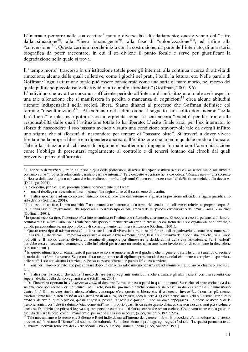 Anteprima della tesi: Istituzione penitenziaria e organizzazione: il ruolo delle risorse umane nelle interazioni con i detenuti, Pagina 7