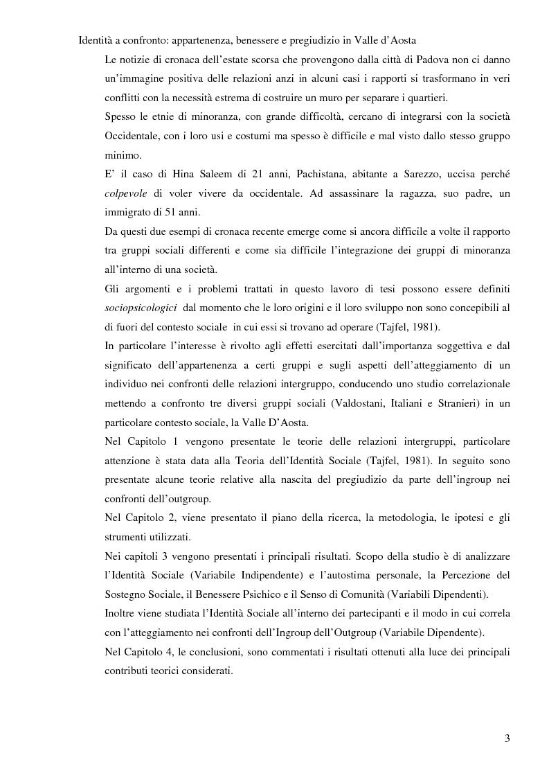Anteprima della tesi: Identità a confronto: appartenza, benessere e pregiudizio in Val D'Aosta, Pagina 2