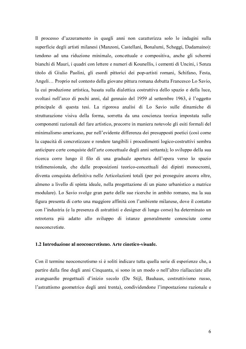 Anteprima della tesi: Azzeramento e neoconcretismo: Francesco Lo Savio, Pagina 4