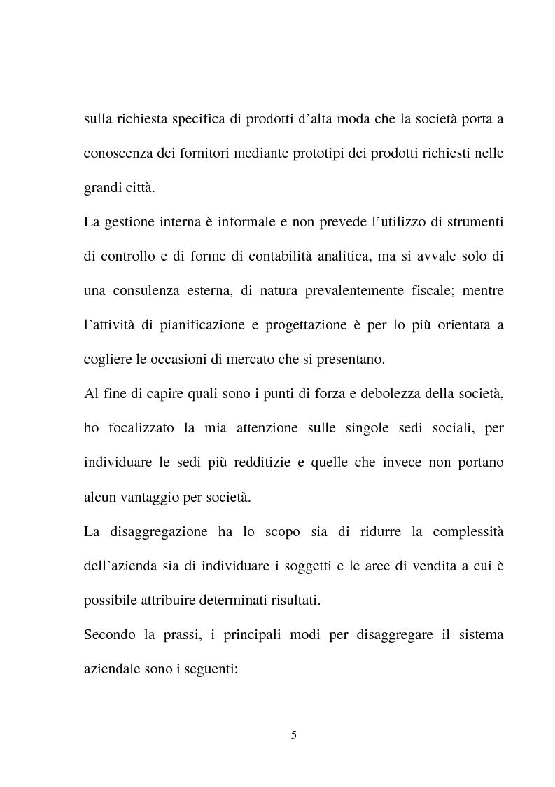 """Anteprima della tesi: Analisi della performance economico-finanziaria: la redditività per """"area di vendita"""" - Il caso S&N Moda s.r.l., Pagina 4"""
