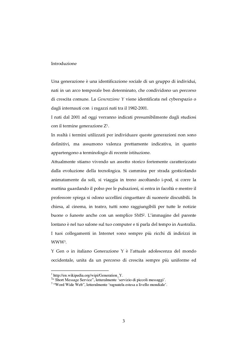 Anteprima della tesi: La generazione Y, Pagina 1