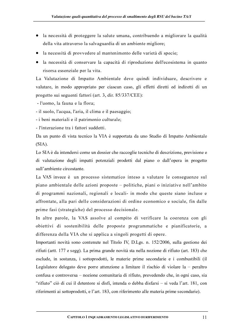 Anteprima della tesi: Valutazione quali-quantitativa del processo di smaltimento degli RSU nel bacino TA/1, Pagina 11