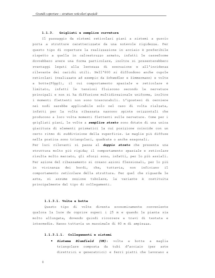 Anteprima della tesi: Grandi coperture, strutture reticolari spaziali; progetto della copertura di un impianto sportivo con struttura leggera a ''fogli'' triangolari, Pagina 8