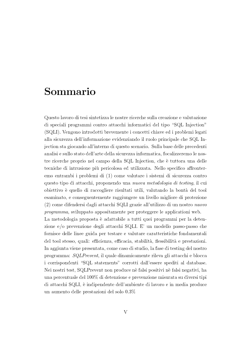 Anteprima della tesi: Creation and Evaluation of SQL Injection Security Tools, Pagina 2