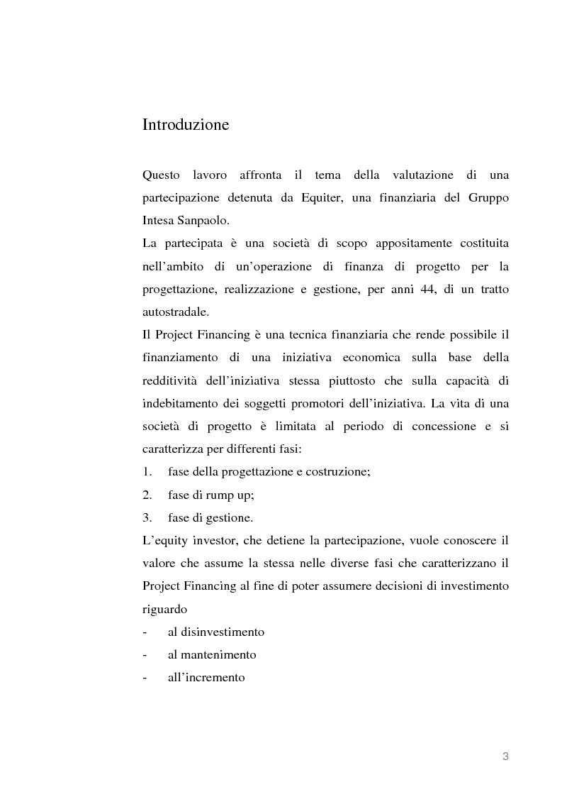 Anteprima della tesi: La partecipazione di un equity investor in una società di progetto per una infrastruttura stradale: un metodo di valutazione, Pagina 1