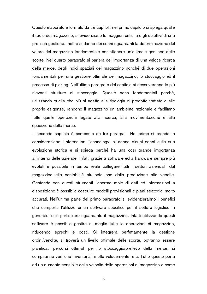 Anteprima della tesi: L'Information Technology a supporto dei processi di magazzino, Pagina 2