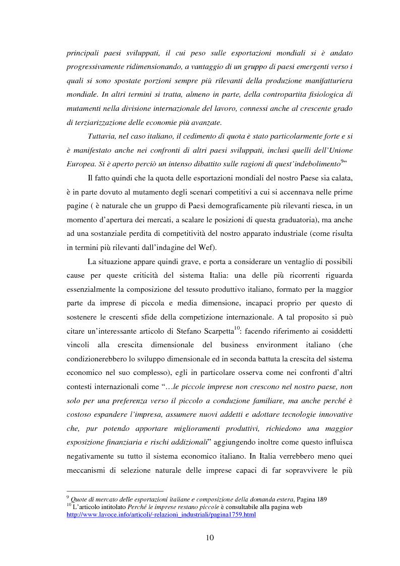 Anteprima della tesi: La perdita di competitività del sistema Italia - Dinamiche della formazione e dell'utilizzo del capitale umano, Pagina 6
