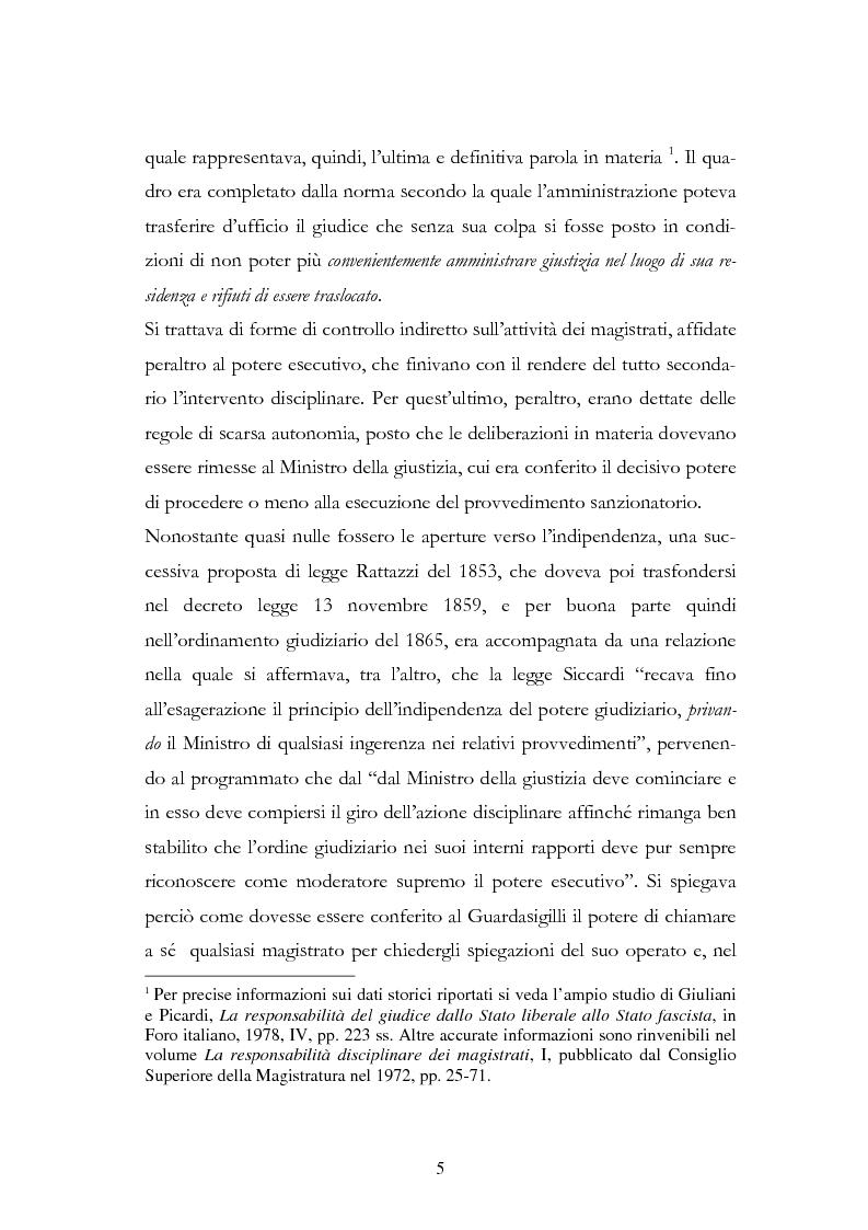 Anteprima della tesi: Il procedimento disciplinare dei magistrati, Pagina 5