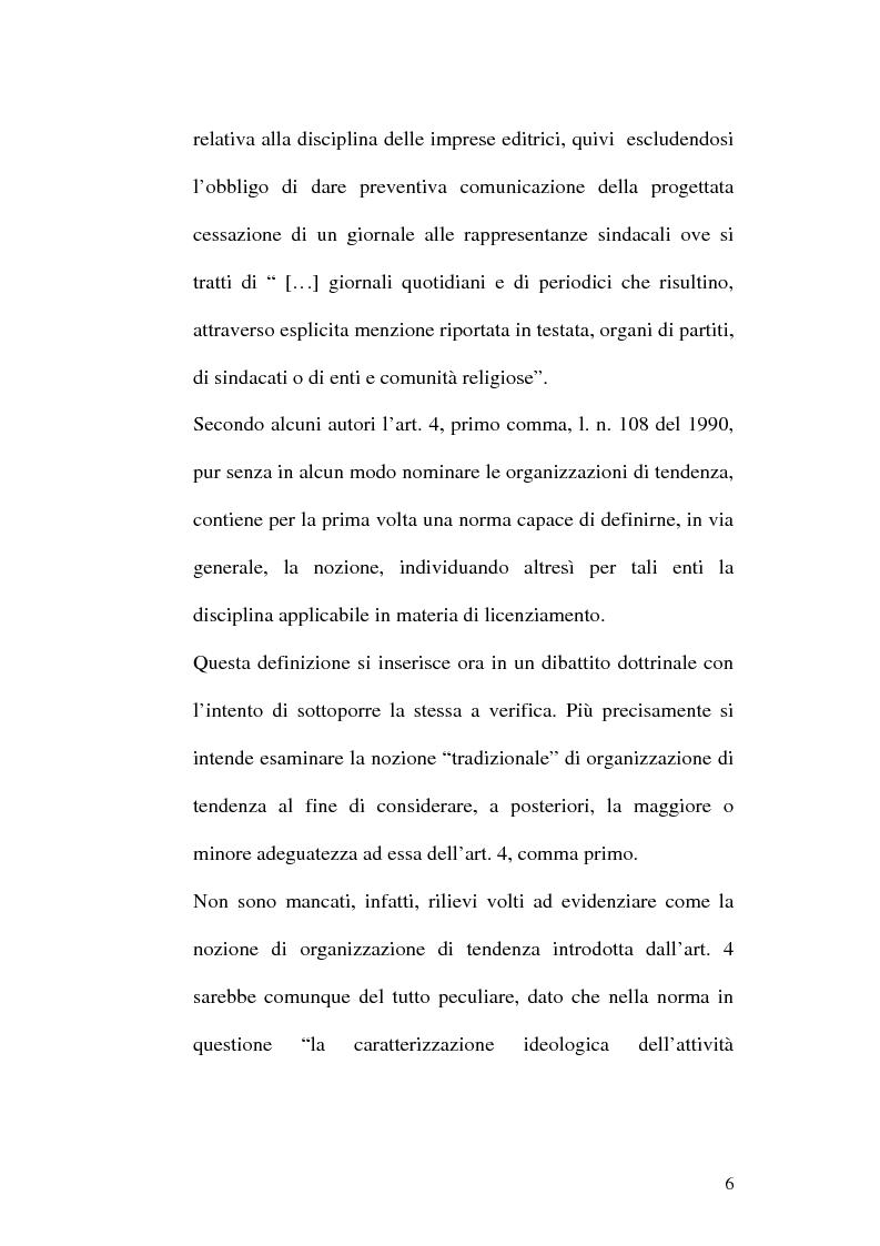Anteprima della tesi: Tutela obbligatoria contro il licenziamento nelle organizzazioni di tendenza e natura non imprenditoriale dell'attività esercitata, Pagina 3