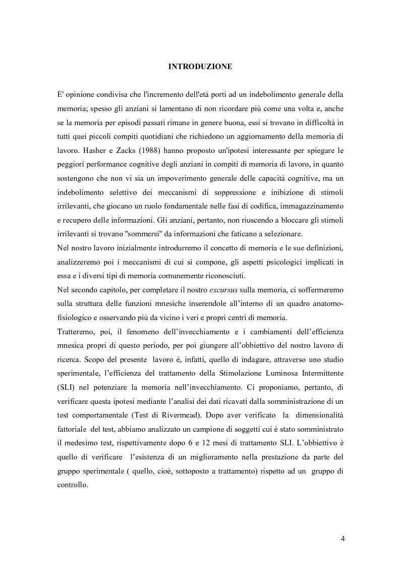 Anteprima della tesi: Verifica dell'efficacia della stimolazione luminosa intermittente nel potenziare la memoria nell'invecchiamento, Pagina 1