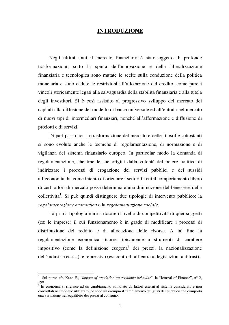 Anteprima della tesi: Assetti organizzativi e prospettive evolutive della vigilanza sui sistemi finanziari, Pagina 1