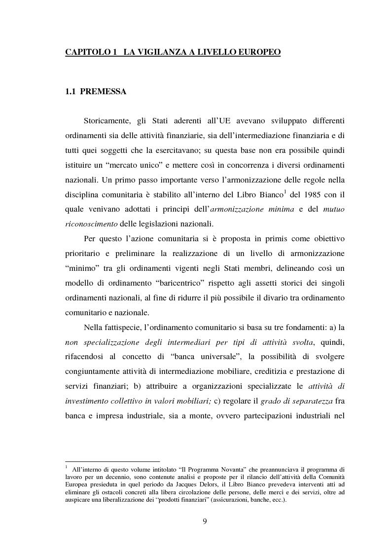 Anteprima della tesi: Assetti organizzativi e prospettive evolutive della vigilanza sui sistemi finanziari, Pagina 8