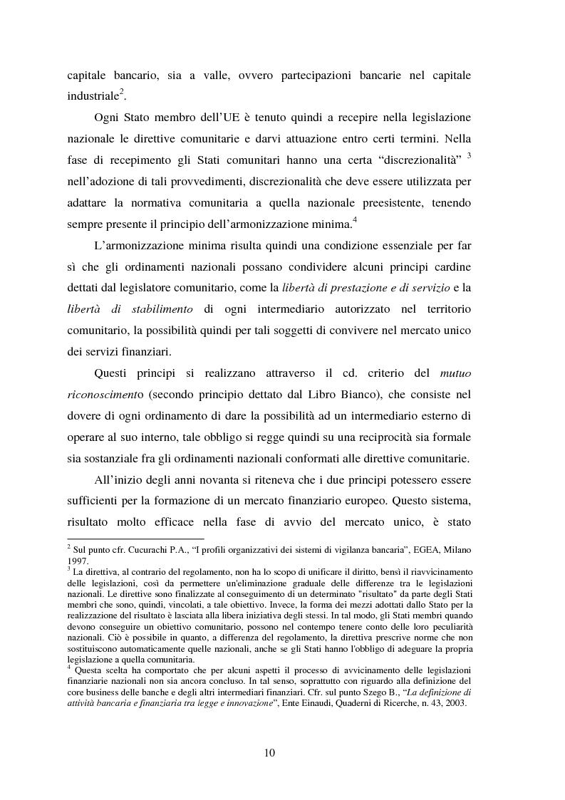 Anteprima della tesi: Assetti organizzativi e prospettive evolutive della vigilanza sui sistemi finanziari, Pagina 9