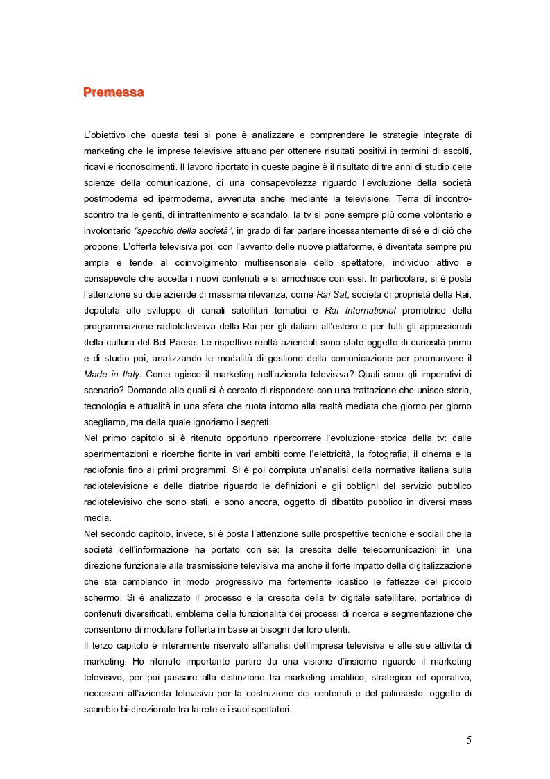 Anteprima della tesi: Marketing dello spettacolo e tv tematiche. Gestione della comunicazione per la promozione del made in Italy: i casi Rai Sat e Rai International., Pagina 1