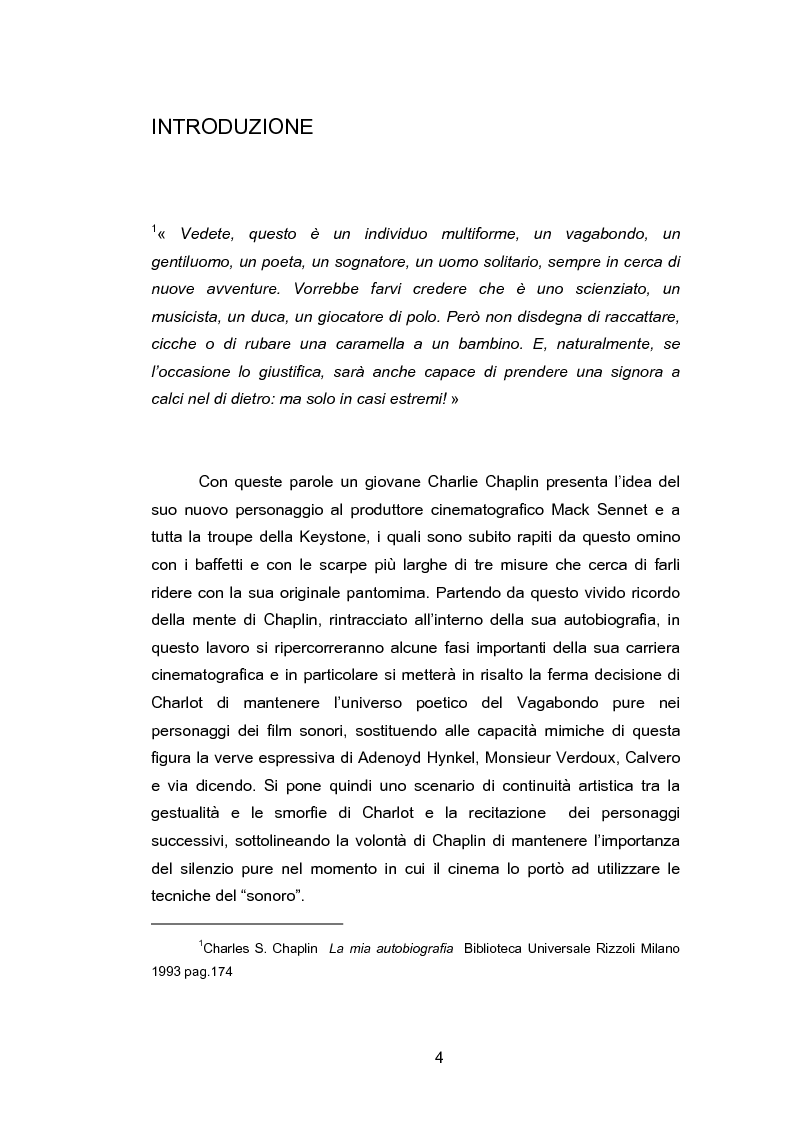 Anteprima della tesi: La metamorfosi del Vagabondo: coincidenza tra il silenzio espressivo del ''muto'' e le parole sentimentali del ''sonoro'', Pagina 1