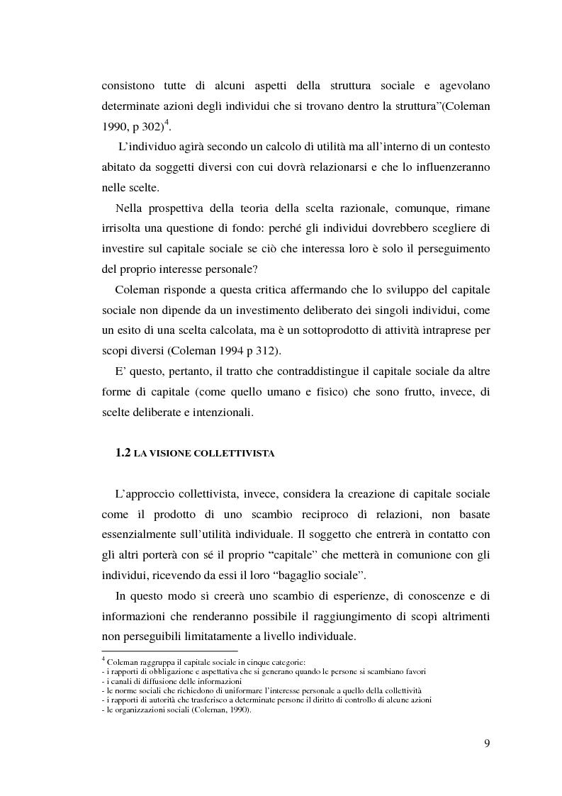 Anteprima della tesi: L'identificazione del capitale sociale: verso una tassonomia, Pagina 6
