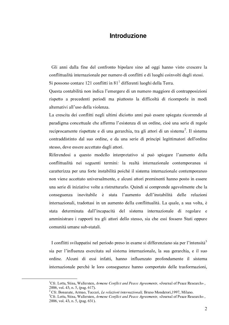 Anteprima della tesi: Coinvolgimento internazionale e significato politico delle missioni italiane nella fase post Guerra fredda, Pagina 1
