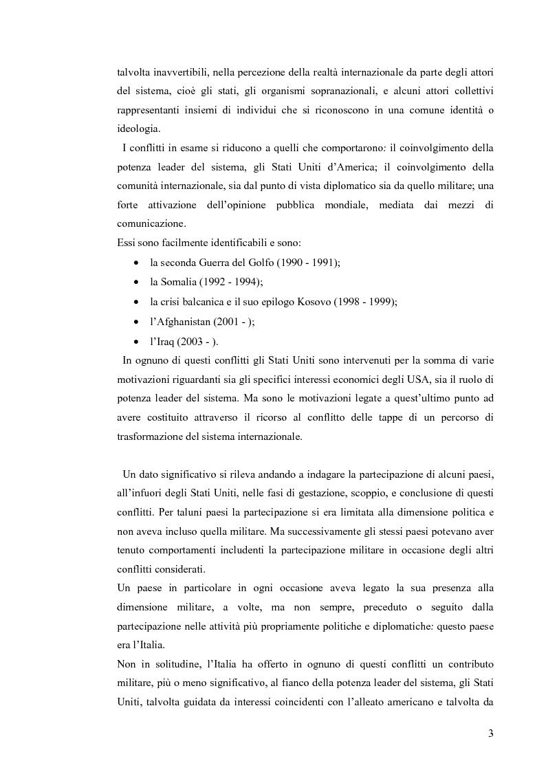 Anteprima della tesi: Coinvolgimento internazionale e significato politico delle missioni italiane nella fase post Guerra fredda, Pagina 2