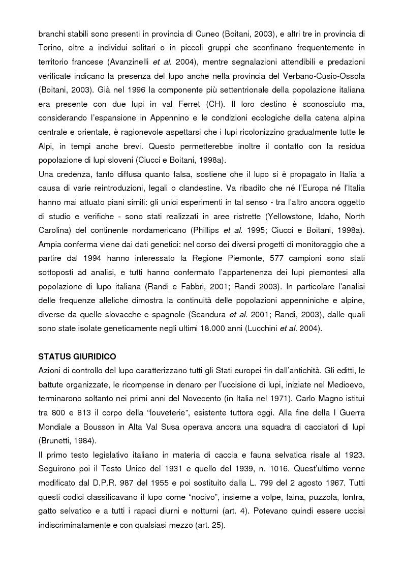 Anteprima della tesi: Analisi storica e situazione attuale della presenza del lupo (canis lupus) in Val Susa (provincia di Torino), Pagina 3