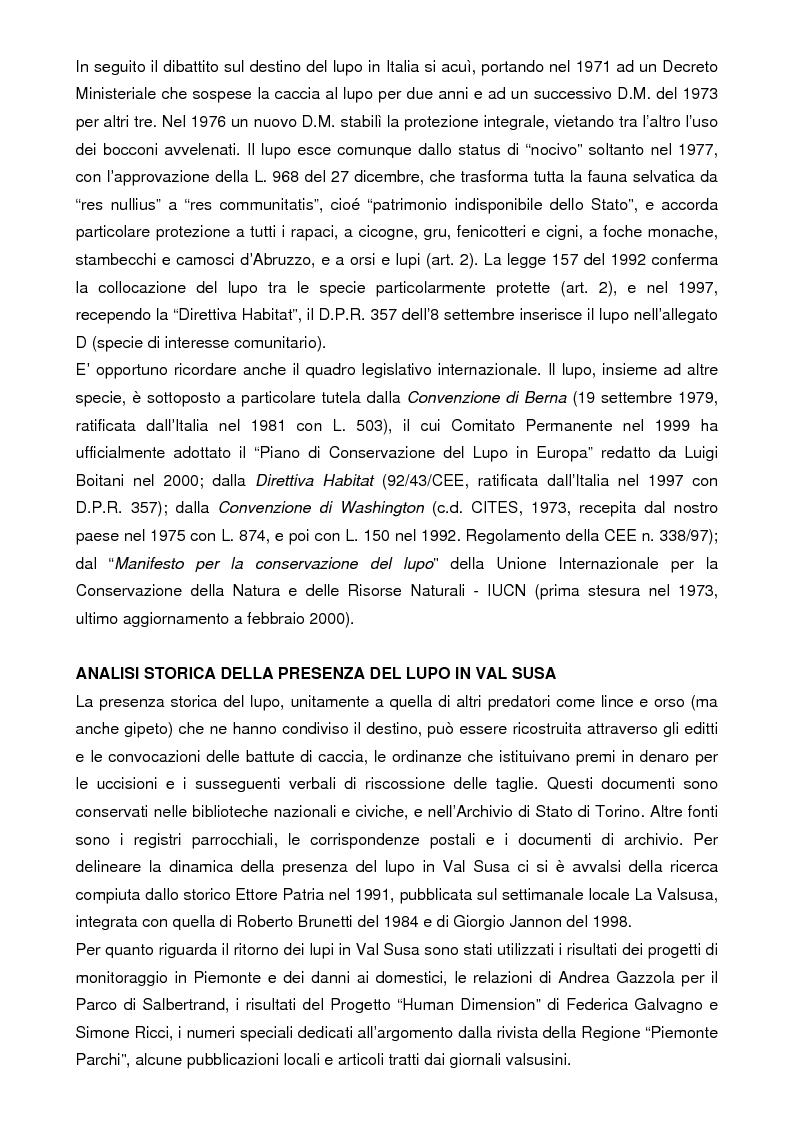 Anteprima della tesi: Analisi storica e situazione attuale della presenza del lupo (canis lupus) in Val Susa (provincia di Torino), Pagina 4