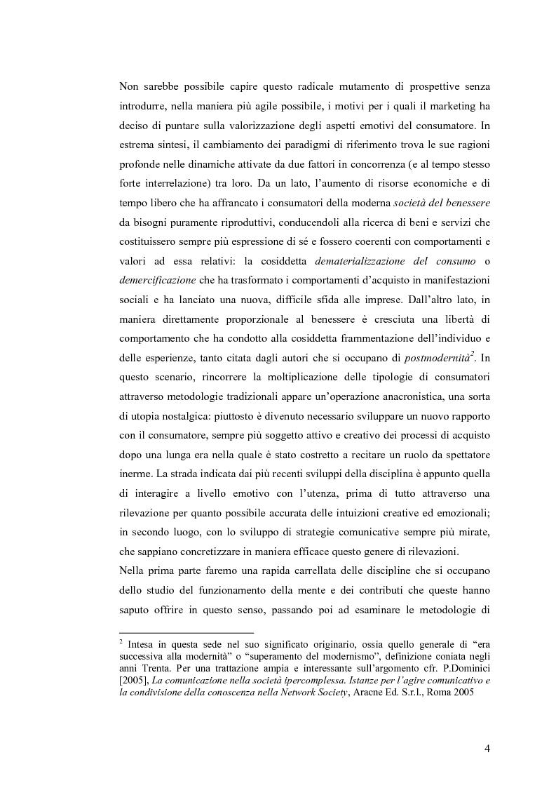 Anteprima della tesi: La gestione delle leve irrazionali dell'acquisto - Dalle neuroscienze alle discipline non convenzionali del marketing, Pagina 2
