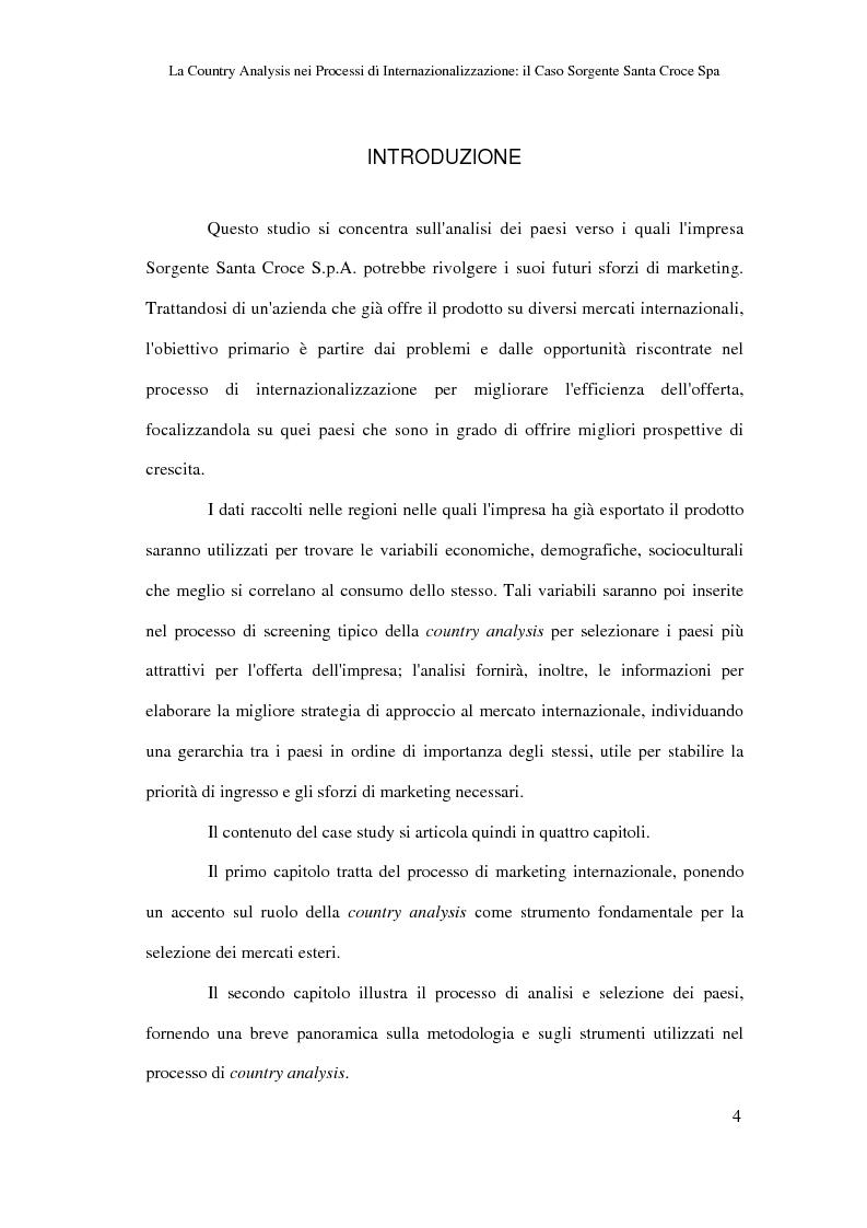 Anteprima della tesi: La country analysis nei processi di internazionalizzazione: il caso Sorgente Santa Croce Spa, Pagina 1