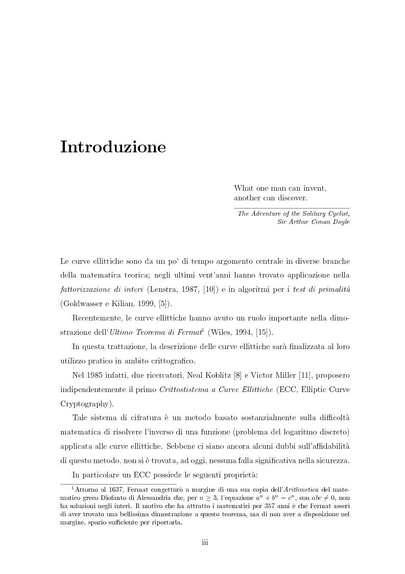 Anteprima della tesi: Curve ellittiche e crittografia, Pagina 1