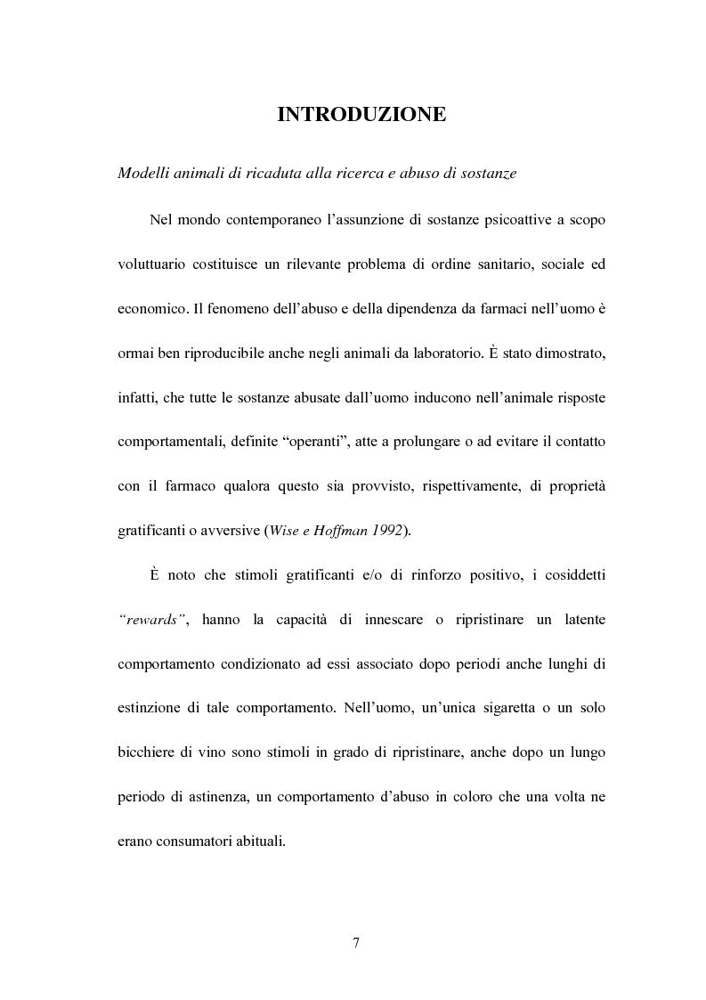 Anteprima della tesi: Differente ruolo dei recettori cannabinoide CB1 ed oppioide nei meccanismi di recidiva all'abuso di eroina, Pagina 1