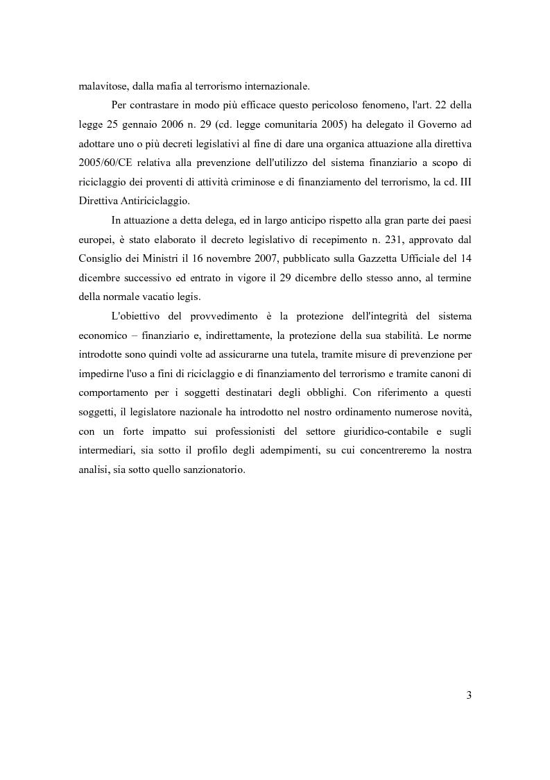 Anteprima della tesi: Le principali novità per i professionisti in tema di antiriciclaggio alla luce del d.lgs. 231/07, Pagina 2