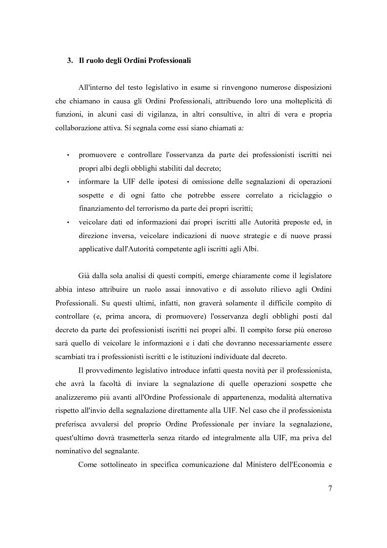 Anteprima della tesi: Le principali novità per i professionisti in tema di antiriciclaggio alla luce del d.lgs. 231/07, Pagina 6