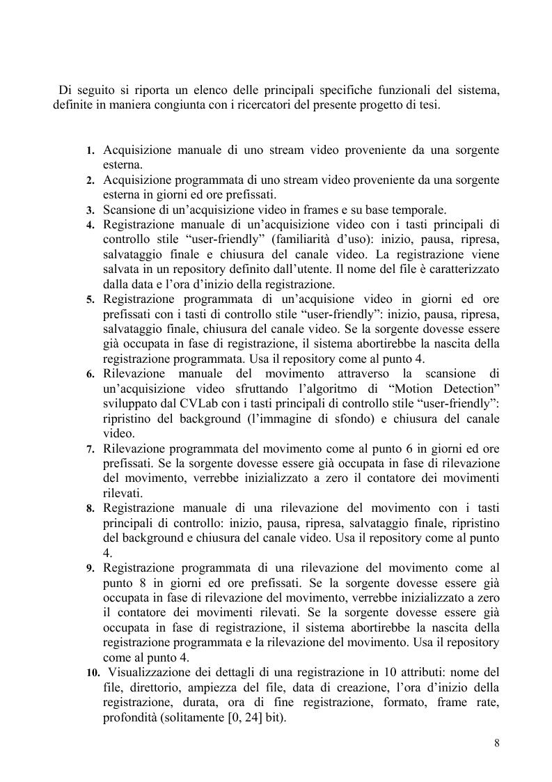 Anteprima della tesi: Sistema di videosorveglianza per personal computer, Pagina 5