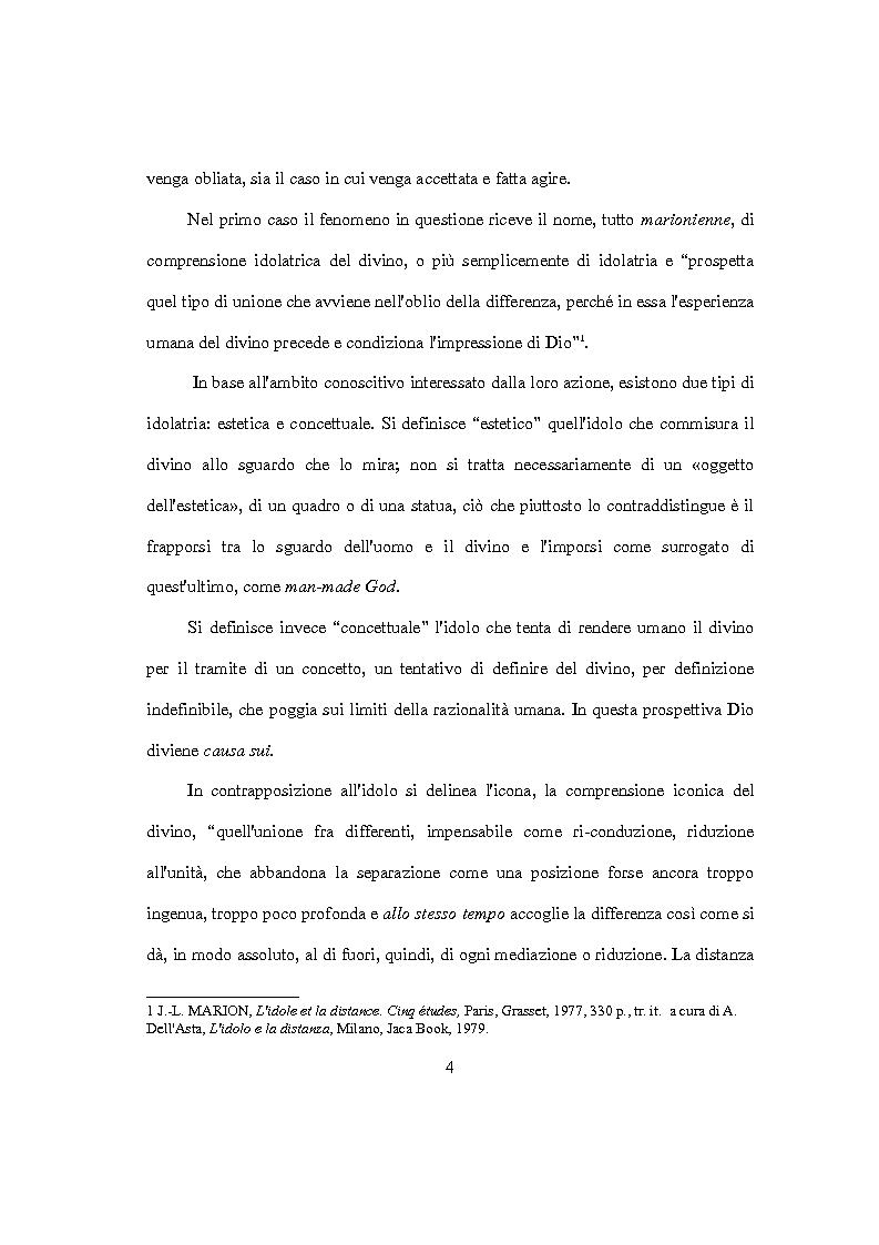 Anteprima della tesi: L'idolo e l'icona. Il visibile e il rivelato in Jean-Luc Marion, Pagina 2