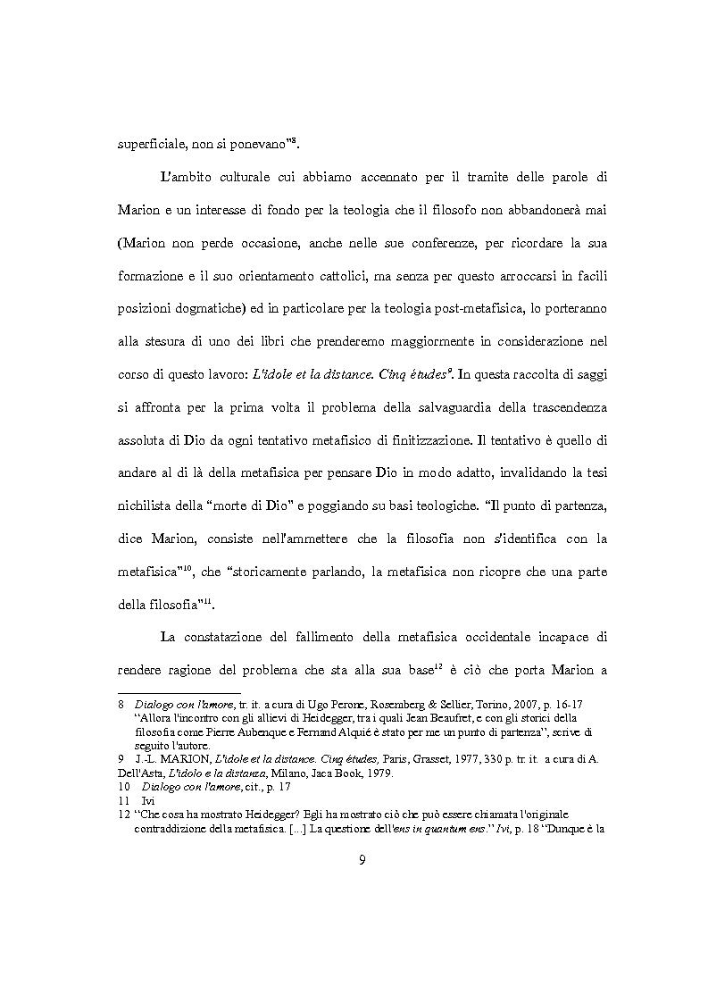 Anteprima della tesi: L'idolo e l'icona. Il visibile e il rivelato in Jean-Luc Marion, Pagina 7