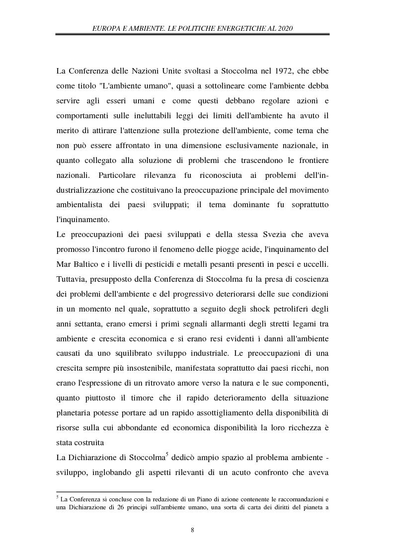 Anteprima della tesi: Europa e ambiente, le politiche energetiche al 2020. Il ruolo delle rinnovabili, Pagina 14