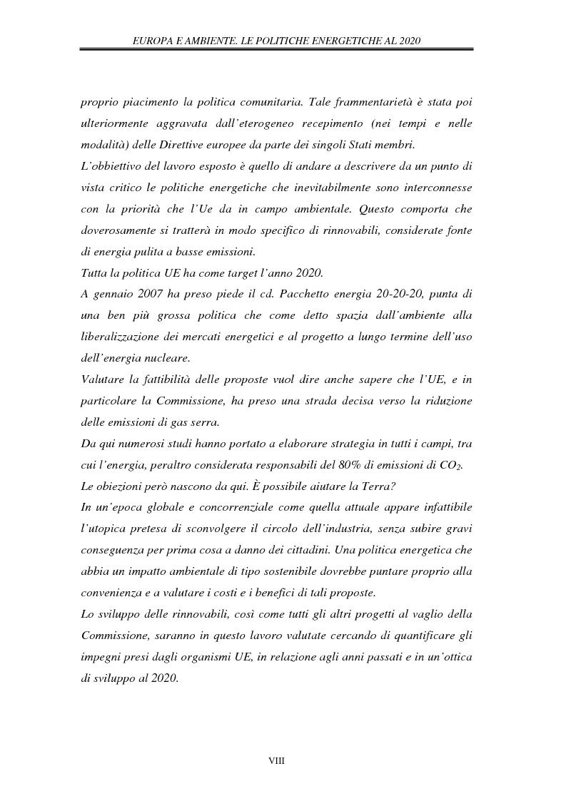 Anteprima della tesi: Europa e ambiente, le politiche energetiche al 2020. Il ruolo delle rinnovabili, Pagina 4
