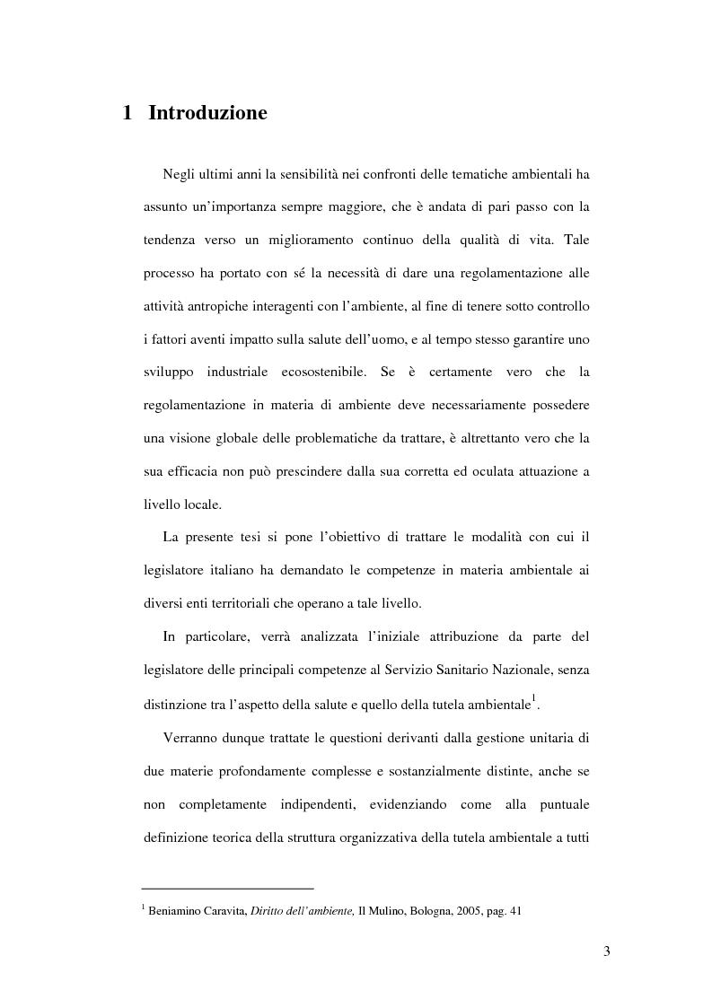 Anteprima della tesi: Il livello di governo locale nella tutela ambientale. Il ruolo di A.S.L., A.R.P.A. e Camere di Commercio, Pagina 1
