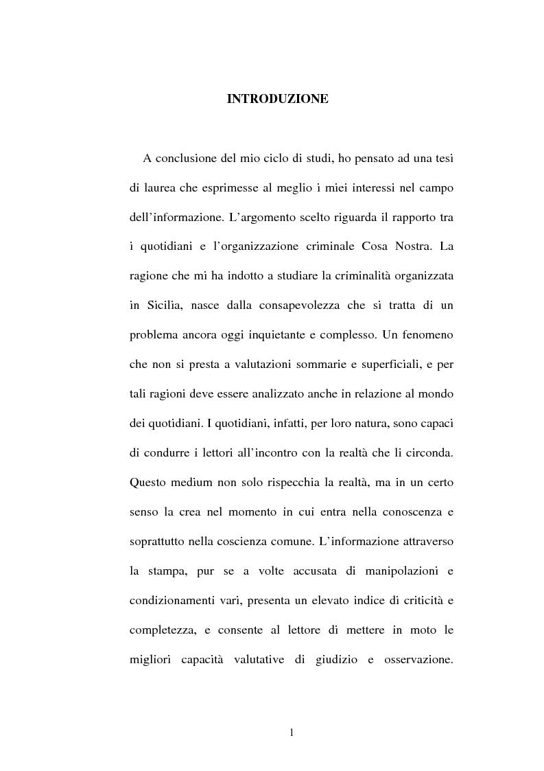 Anteprima della tesi: Mafia e informazione: il ruolo dei quotidiani nella costruzione dell'immagine sociale della mafia, Pagina 1