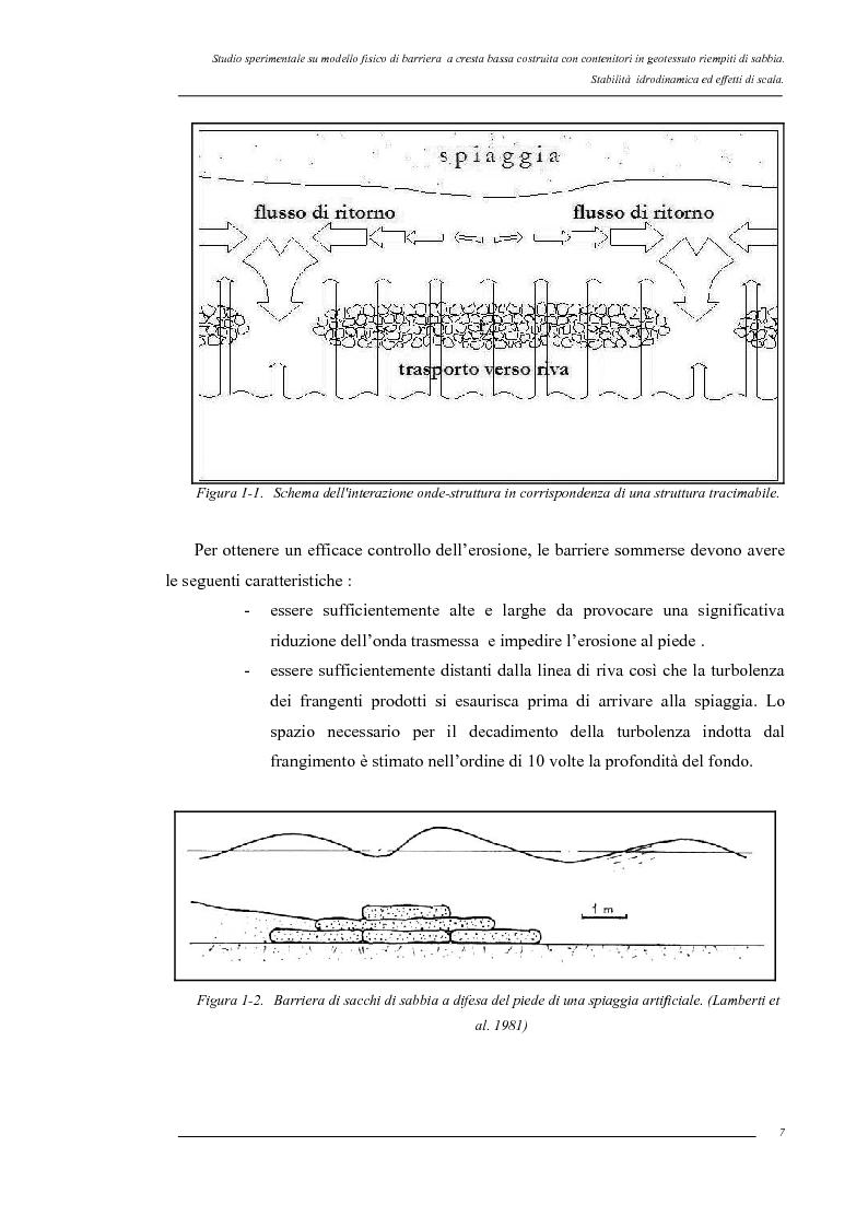 Anteprima della tesi: Studio sperimentale su modello fisico di barriera a cresta bassa costruita con contenitori in geotessuto riempiti di sabbia. Stabilità idrodinamica ed effetti di scala., Pagina 4