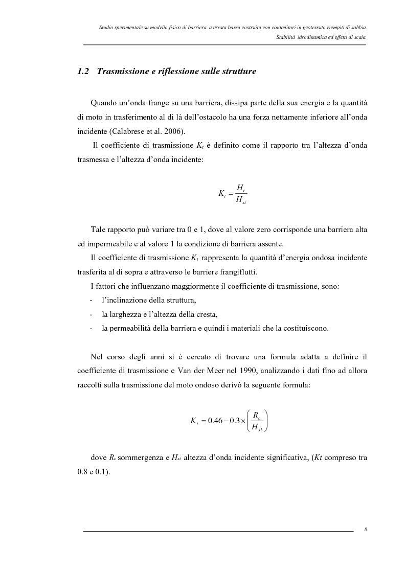 Anteprima della tesi: Studio sperimentale su modello fisico di barriera a cresta bassa costruita con contenitori in geotessuto riempiti di sabbia. Stabilità idrodinamica ed effetti di scala., Pagina 5