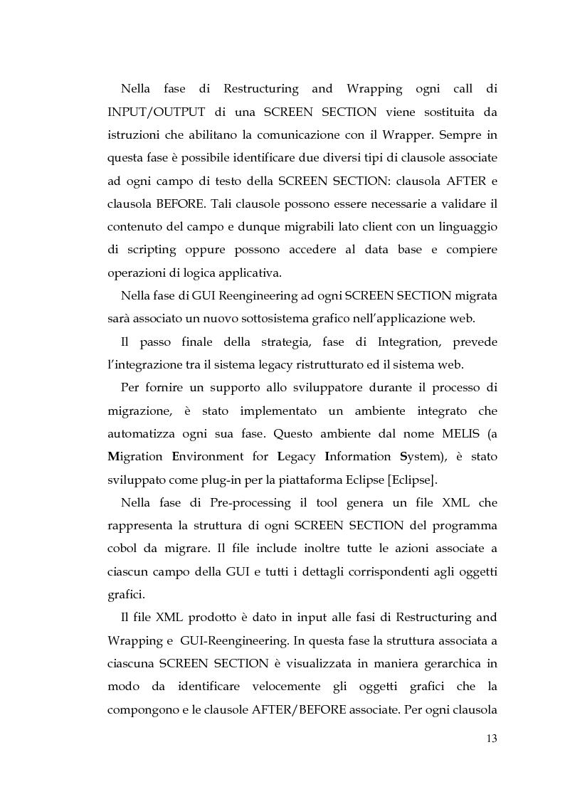 Anteprima della tesi: MELIS un ambiente per la reingegnerizzazione di interfacce legacy verso il web, Pagina 4