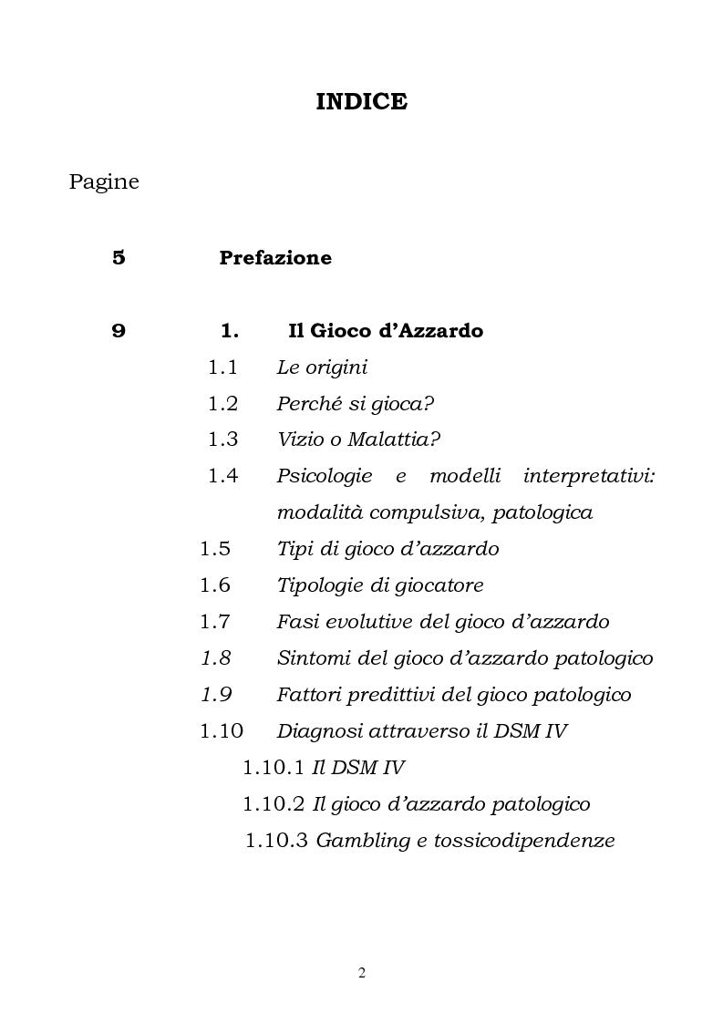 Indice della tesi: I fattori di rischio di suicidio nei giocatori d'azzardo patologico, Pagina 1