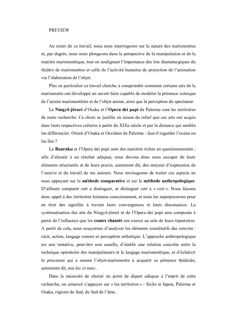 Anteprima della tesi: Bunraku et Opera dei pupi: techniques et perceptions, Pagina 1