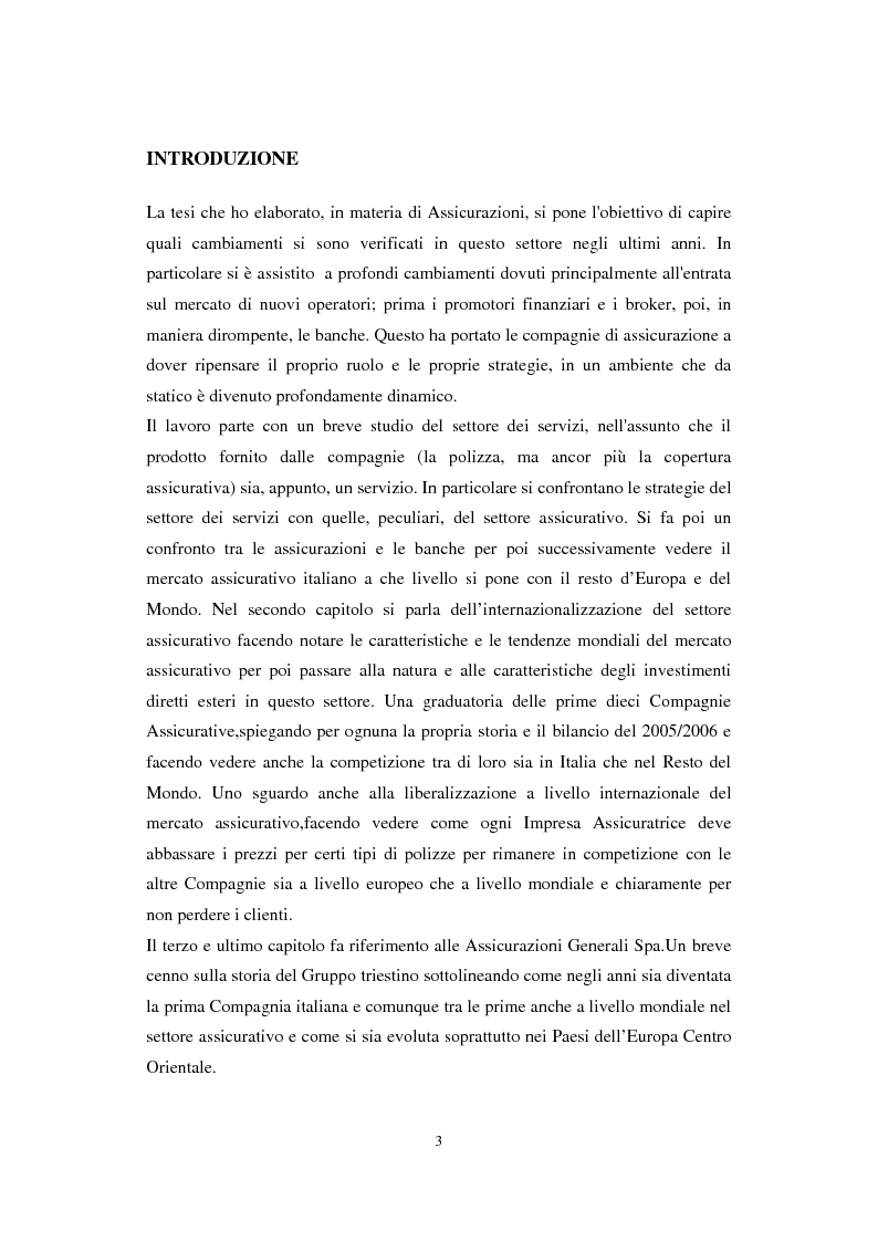 Anteprima della tesi: L'internazionalizzazione del settore assicurativo: il caso delle Assicurazioni Generali Spa, Pagina 1