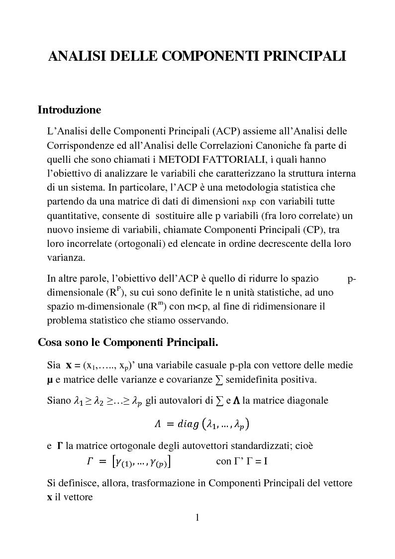 Anteprima della tesi: Analisi di statistica multivariata, Pagina 1