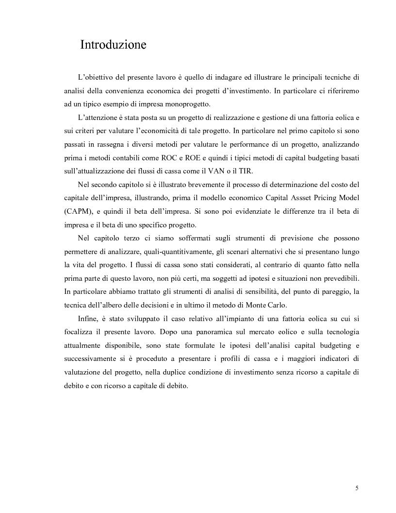 Anteprima della tesi: La valutazione di una impresa monoprogetto. Il caso di una fattoria eolica., Pagina 1