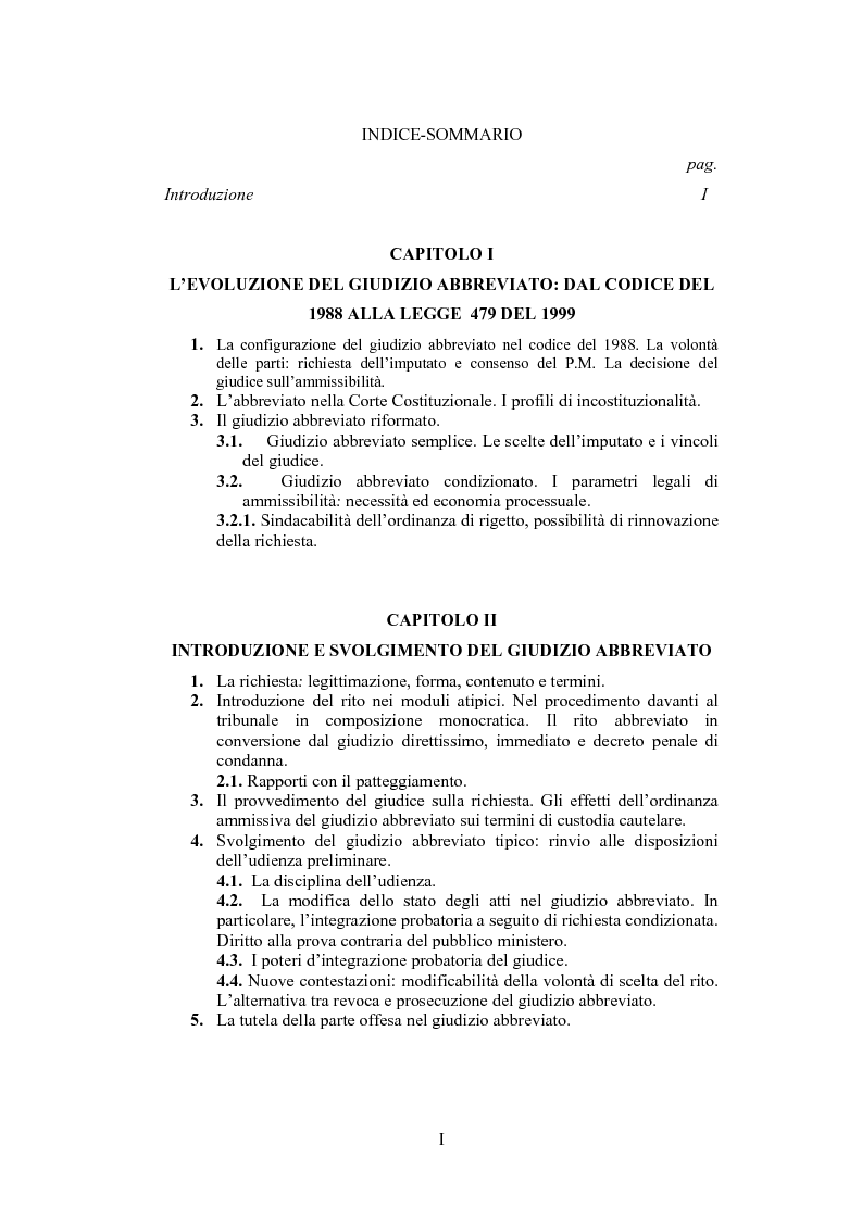 Indice della tesi: Il giudizio abbreviato, Pagina 1