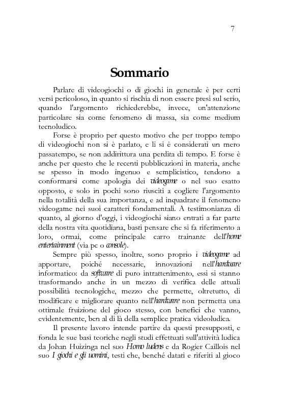 Anteprima della tesi: In-game. Immersità ed interazione della pratica videoludica., Pagina 1