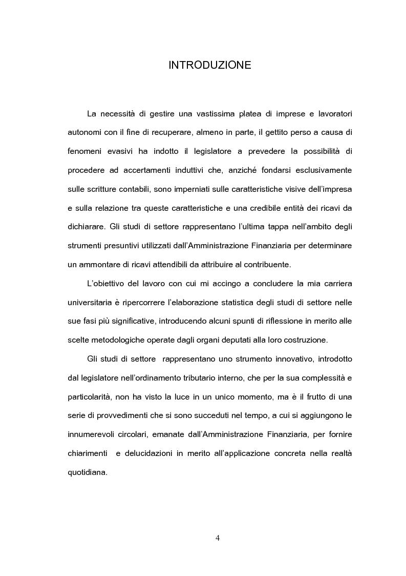 Anteprima della tesi: Le criticità degli studi di settore dal punto di vista statistico, Pagina 1