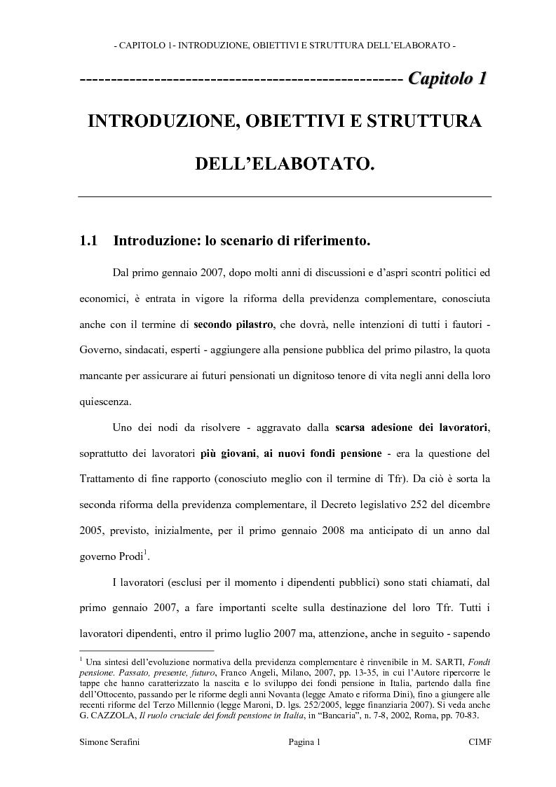 Anteprima della tesi: La riforma dei limiti agli investimenti dei fondi pensione in Italia. Obiettivi e prospettive in seguito alla consultazione effettuata dal Ministero del Tesoro, Pagina 1